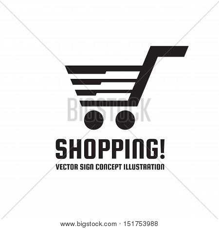 Web shopping - vector logo template concept illustration. Basket cart with arrows sign. Shop store icon. Design element.