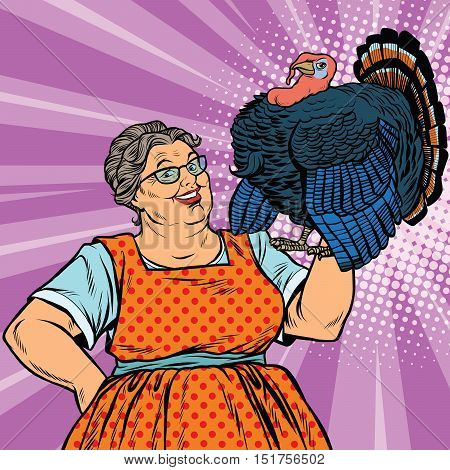 Holiday grandma with a live Turkey, pop art retro vector illustration. The symbol of thanksgiving day