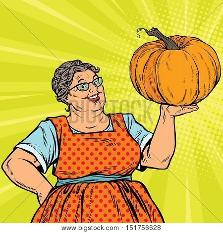 Cheerful grandmother with pumpkin for Thanksgiving, pop art retro vector illustration