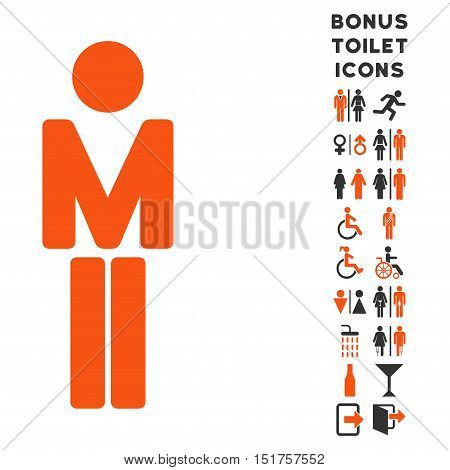 Man icon and bonus gentleman and woman toilet symbols. Vector illustration style is flat iconic bicolor symbols, orange and gray colors, white background.