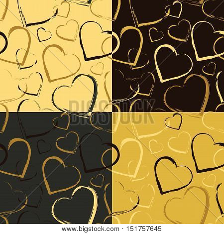 Set of seamless patterns with symbols of heart. Golden colored hearts randomly scattered on solid backgrounds. Continuous texture for textile, wrapping, cards, wallpapers. Vector eps8 illustration.