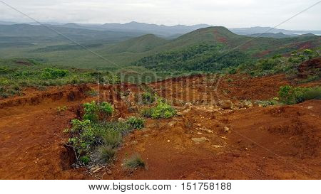 Landscape of southern New Caledonia, in Yate Nature Park. Nature wild, red earth and cloudy sky. Light, natural colors. New Caledonia is a French island located in the Pacific Ocean.