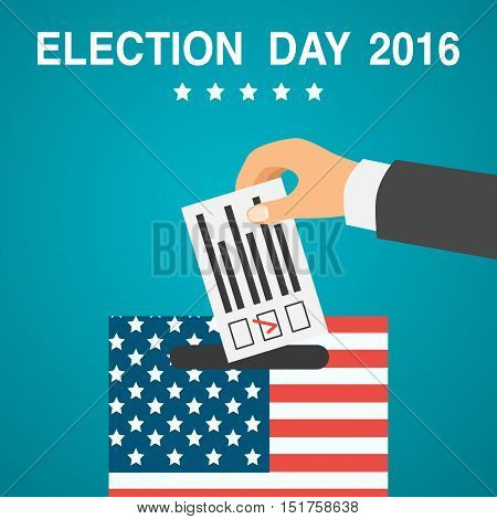 Voting concept. Male hand putting voting paper in a ballot box, flat design, vector illustration. Election day poster. 2016 USA.