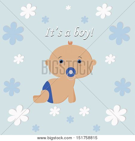 It's a boy. template card greeting invitation. newborn. baby vector illustration. baby shower and arrival