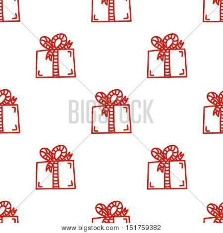 Gift box with ribbon, red line vector seamless pattern. Hand drawn tileable background, design element for gift shop or souvenir shop flyer, banner, coupon, greeting card and other print advertising