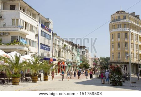 VARNA, BULGARIA - AUGUST 14, 2015: boulevard knyaz prince Boris I street in summer, main pedestrian street in touristic and historical centre of the town.