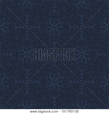 Seamless islam dark blue pattern. Vintage floral background. Vector islamic royal pattern. Eastern design and baroque wallpaper
