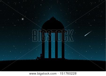Alone person is waiting in front of gazebo, night sky full of stars