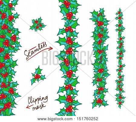 Holly borders and garlands. hand drawn background, design element for Christmas and New Year greeting card or banner. Holly with berry, isolated on white