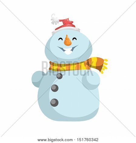 Cute snowmen in red hat with scarf vector icon. Cartoon expression isolated character. Simple gradient mascot.