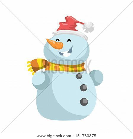 Cute laughing snowmen in red hat with scarf vector icon. Cartoon expression isolated character. Simple gradient mascot.