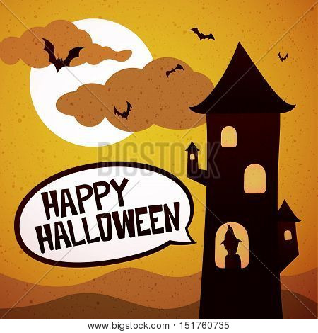 Happy Halloween graphics, tower with witch and bats