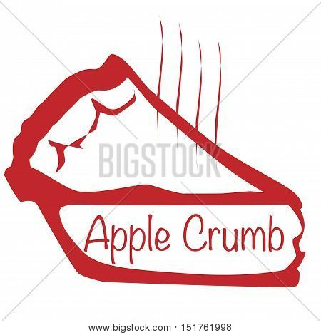 Cartoon depiction of a hot Apple Crumb pie over a white background