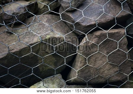 gabion wall made of stone and steel mesh