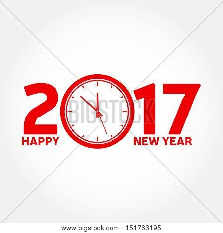Happy New Year 2017. Typography greeting, invitation card with clock and text 2017 - stock vector.