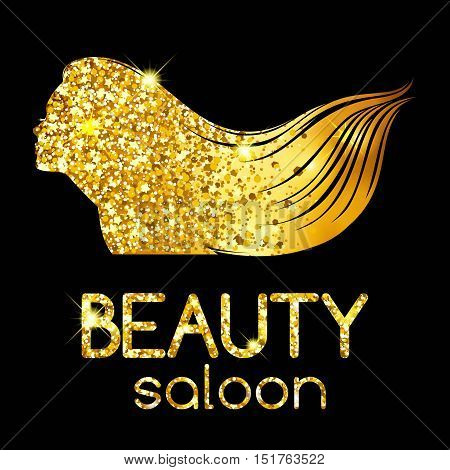 Golden decoration of a beauty salon the girl outline silhouette waving her hair bright illustration. Vector illustration