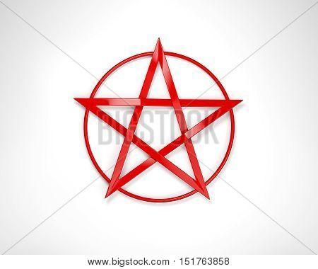 Illustration of a pentacle pentagram symbol icon.