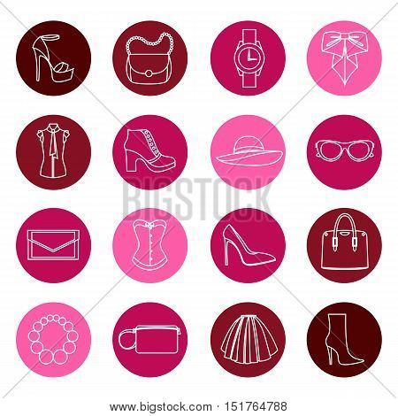 Vector color icons design concept of fashion accessories