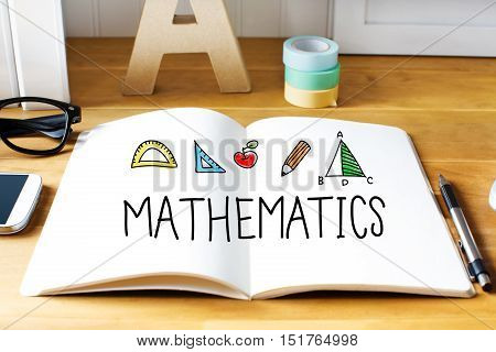 Mathematics Concept With Notebook