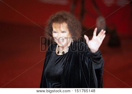 Rome Italy - October 13 2016: Rome Film Festival Eleventh Edition. Red carpet with Moonlight pictured pictured Claudia Cardinale.