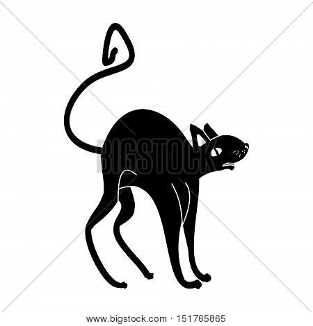 Black cat Halloween. Silhouette of a black cat or rat on a white background. Ethnic abstract pattern vector illustration