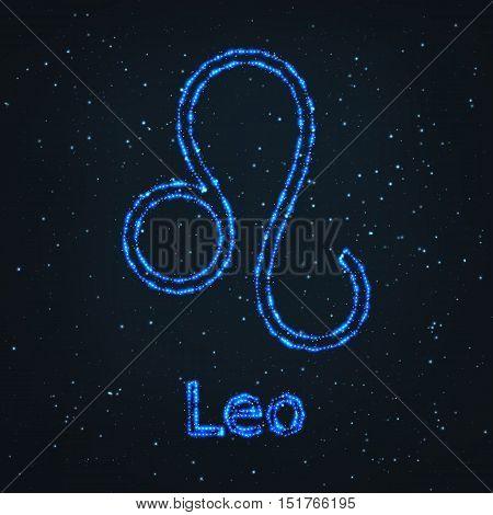 Astrology Shining Blue Symbol. Horoscope Sign. Zodiac Leo.