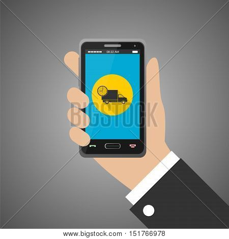 Hand holding smartphone with fast delivery icon