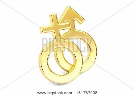 Female and male gender golden symbols 3D rendering isolated on white background