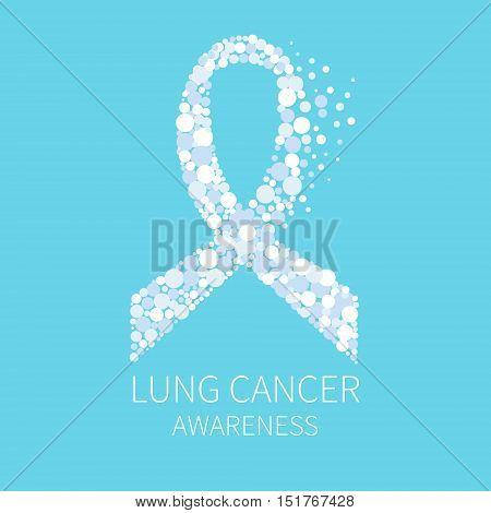 Lung cancer awareness poster with white ribbon made of dots on blue background. Human body organs anatomy icon. Respiratory system disease. Medical concept. Vector illustration.