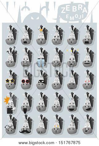 Zebra emoji icons , vector , illustration