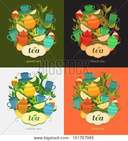 Template packing green, black, white, fruit tea. Label design for tea. Vector background with cups, teapot, sugar bowl, tea leaf, cakes, lemon. Illustration for design: packaging, printing, banner.