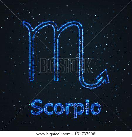 Astrology Shining Blue Symbol. Horoscope Sign. Zodiac Scorpio.