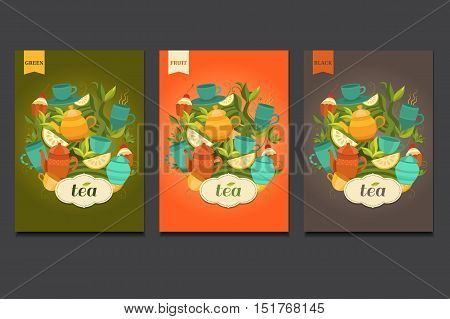 Template packing green, black, fruit tea. Label design for tea. Vector background with cups, teapot, sugar bowl, tea leaf, cakes, lemon. Illustration for design: packaging, printing, banner.