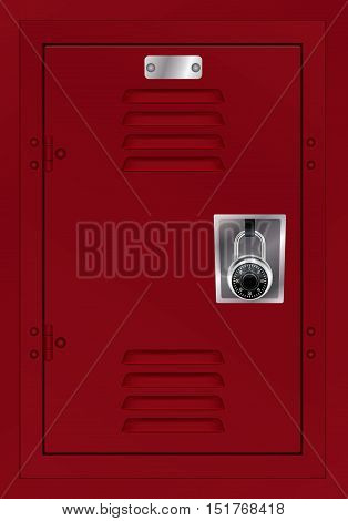 A door to a red metal locker with a combination lock. Vector EPS 10 available.
