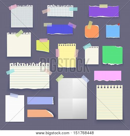 Set of isolated realistic empty vector paper poster mockup notes sticky colorful banners and pieces of paper with ripped edges on grey background.