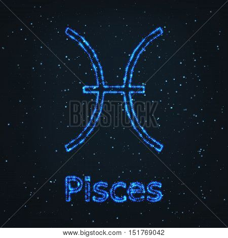Astrology Shining Blue Symbol. Horoscope Sign. Zodiac Pisces.