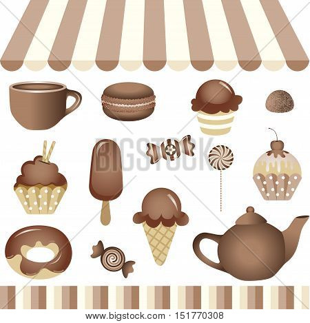 Scalable vectorial image representing a chocolate candy shop, isolated on white. EPS10.