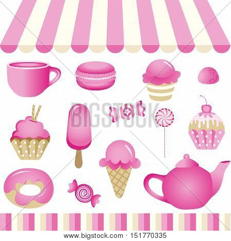 Scalable vectorial image representing a violetta candy shop, isolated on white. EPS10.