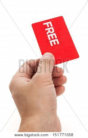 hand holding a red free card marketing; promotion
