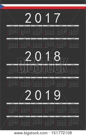 Set Of Black Rectangle Czech 2017, 2018, 2019 Year Vector Calendars