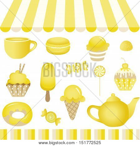 Scalable vectorial image representing a yellow candy shop, isolated on white. EPS10.