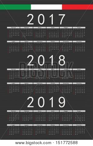 Set Of Black Rectangle Italian 2017, 2018, 2019 Year Vector Calendars
