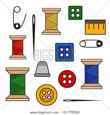 Vector illustration of a set of tools for sewing and needlework spool thread needle button pin and more. Color illustration with black outline isolated for a tailor and a seamstress
