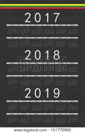 Set Of Black Rectangle Lithuanian 2017, 2018, 2019 Year Vector Calendars