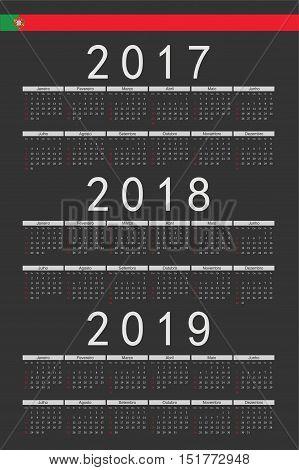 Set Of Black Rectangle Portuguese 2017, 2018, 2019 Year Vector Calendars