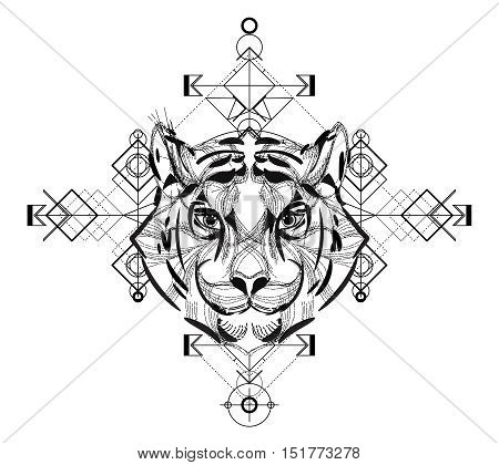 Animal head triangular icon , geometric trendy line design. Vector illustration ready for tattoo or adult relax anti stress coloring book. Tiger head low-poly sketch hand drawn