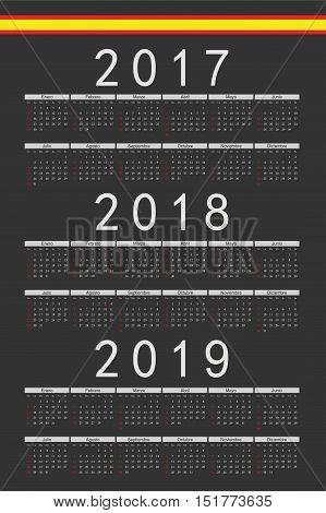 Set Of Black Rectangle Spanish 2017, 2018, 2019 Year Vector Calendars