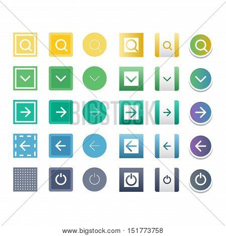 Web elements site buttons and vector button set. Design sign buy element shop button and label ui ux buttons. Business banner symbol shop buttons graphic. Square and circle web button.