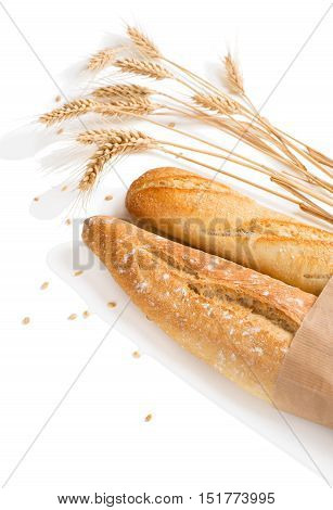 Freshly baguettes baked bread and wheat spikes isolated on white background.
