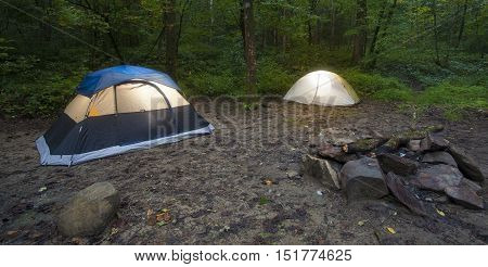 Campsite with a pair of tents in a North Carolina forest